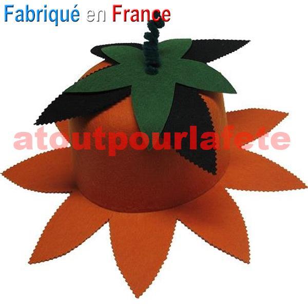 chapeau fleur de pavot orange noir feutre. Black Bedroom Furniture Sets. Home Design Ideas