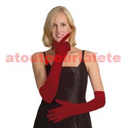 Gant satin plissé rouge 60cms (la paire)