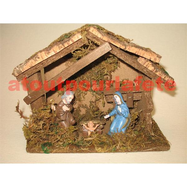 creche de noel en bois et mousse 3 personnages. Black Bedroom Furniture Sets. Home Design Ideas