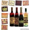 Etiquettes pour bouteilles Halloween, Horreur, Gore (carte de 8)