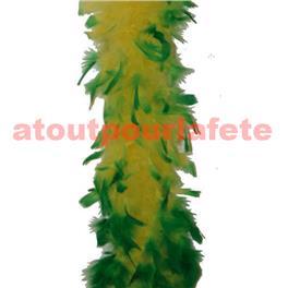 Boa en plumes 2 tons Jaune/Vert 60 grs
