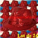 Lot de 24 Borsalino Disco Sequin Paillettes Rouge