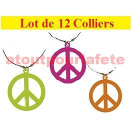 Set de 12 colliers Collier Hippie fluo (3 couleurs)