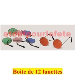 45e0baa2a5293a Boite de 12 Lunettes couleur ronde Lennon Hippie