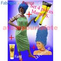 Set 4 pièces Marge Simpson (Robe+Perruque+Fard+collant)
