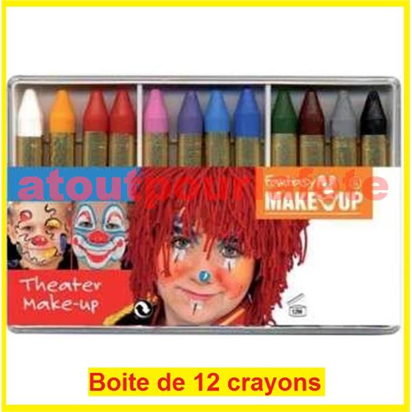 Crayons gras a maquillage boite de 12 - Boite de maquillage pas cher ...