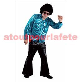 Chemise disco métallisée - turquoise - taille unique