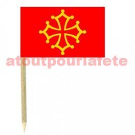 blister de 50 Mini drapeaux Languedoc 3 x 5cm