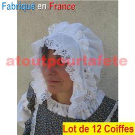 LOT A PRIX PRO: 12 Chapeaux, Coiffe de Laitière (polyester)