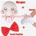 Set de Déguisement Saw, (Masque+Noeud+Gants)