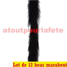 LOT A PRIX PRO: 12 Boas marabout en duvet noir 1,80m 15grs