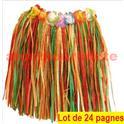 LOT A PRIX PRO: 24 Jupes Hawaienne, Pagne avec ceinture à fleurs 40cm multicolore