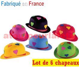 21e355c67a67c LOT A PRIX PRO: 6 Chapeaux Melon de Clown Coeurs Adulte