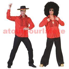 Chemise Disco à jabot rouge