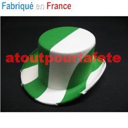 Chapeau Haut de Forme bicolore Vert / Blanc adulte