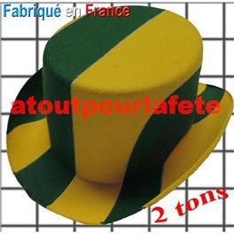 Chapeau Haut de Forme bicolore Vert / Blanc adulte T57