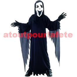 Déguisement de Fantome noir avec masque (enfant)