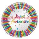 """Ballon mylar 45cms  """"Joyeux anniversaire"""""""