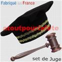 Set de déguisement de Juge, Avocat, Magistrat, Avoué (Chapeau + Marteau)