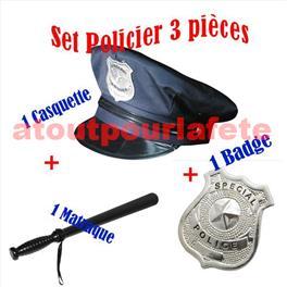 Set de déguisement Policier 3pièces