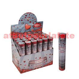 Canon à confetti 20cm Coeurs metallisés rouge